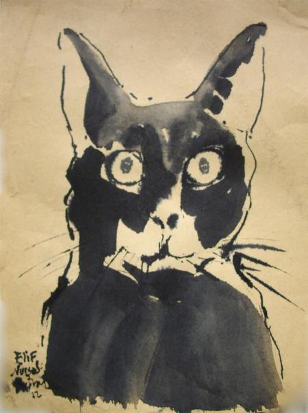 Elif Nursad Atalay, Katze mit gr. Augen, 2012, Tusche/Papier, 19x14cm, Galerie Stexwig, 200,-€