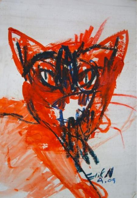 Elif Nursad Atalay, Rote Katze, 2009, Mischtechnik, 27,5x22cm, 2000,-€ Galerie Stexwig