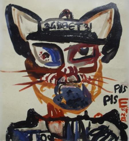 Elif Nursad Atalay, Katze PIs PIS, o.J., 17,5x15,5cm, Gouache, 200,-€, Galerie Stexwig