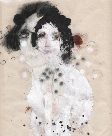 Farah Willem, Moisissures pâles, Blasser Mehltau (Mari Pleyel cadré), 2012, Mischtechnik auf Reispapier, 29x23cm, 845,-€, Galerie Stexwig