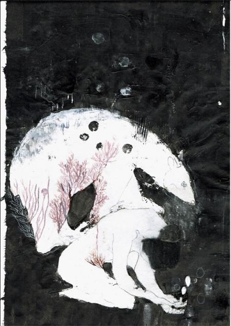 Farah Willem, transe-mission, über-tragung, 2015, Mischtechnik auf Reispapier, 31,5x20cm, 890,-€, Galerie STexwig