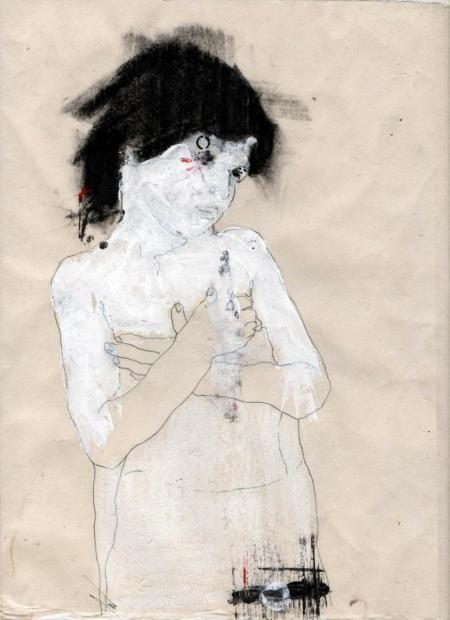 Farah Willem, de L'état lacunaire, vom lakunaren Zustand, 2012, Mischtechnik auf Reispapier, 30x22cm, 845,-€, Galerie Stexwig