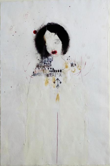Farah Willem, le Sacrifice, die Opferung, 2014, Mischtechnik auf Reispapier, 42x28cm, 890,-€, Galerie Stexwig