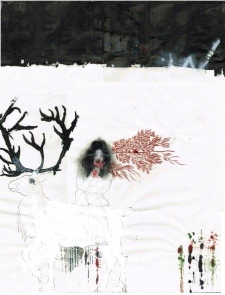 Farah Willem, le cerf ou le guide vers la lumière, der Hirsch oder der Führer zum Licht, 2015, Mischtechnik auf Reispapier, 1.150,-€, Galerie Stexwig