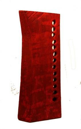 Jan Koblasa, Feuervogel rot, 2008, Holz polychromiert, hoch 37cm, verkauft Galerie Stexwig