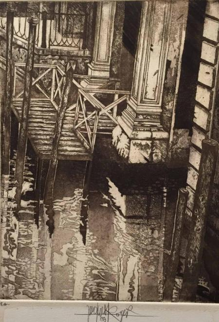 Jacques Henri Roger, o.T., 1983, Radierung e.a., 33,5x25cm, 280,-€, Galerie Stexwig