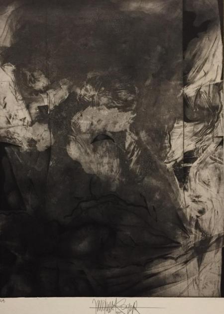 Jacques Henri Roger, la traversée de la nuit, 1985, Radierung e.a. (grau), 39,5x30cm, 350,-€, Galerie Stexwig
