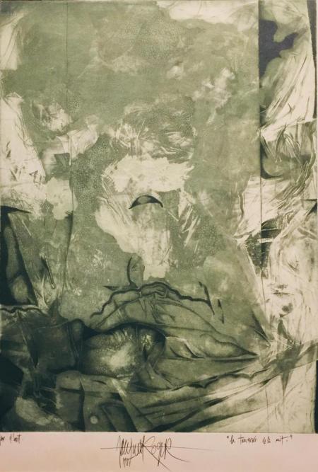 Jacques Henri Roger, la traversée de la nuit, 1985, Radierung e.a. (grün), 39,5x30cm, 350,-€, Galerie Stexwig