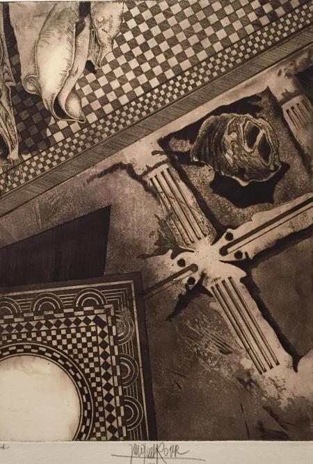 Jacques Henri Roger, o.T., 1982, Radierung e.a., 35x25, 280,-€, Galerie Stexwig