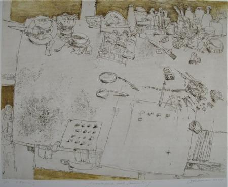 Otto Beckmann, Arbeitstisch mit Sammlung, 2002/2005, Radierung Pr. 2 Fassung, 40x50cm, 280,-€, Galerie Stexwig