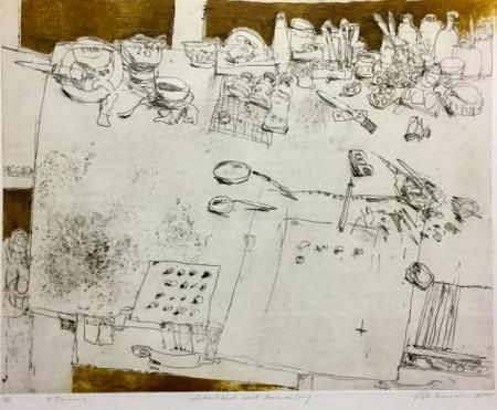 Otto Beckmann, Arbeitstisch mit Sammlung, 2002/2005, Radierung 2. Fassung 2/12, 40x50cm, 280,-€, Galerie Stexwig