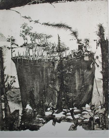 Otto Beckmann, Arche III, 1998, Radierung e.a., 58x47,5cm, 500,-€, Galerie Stexwig