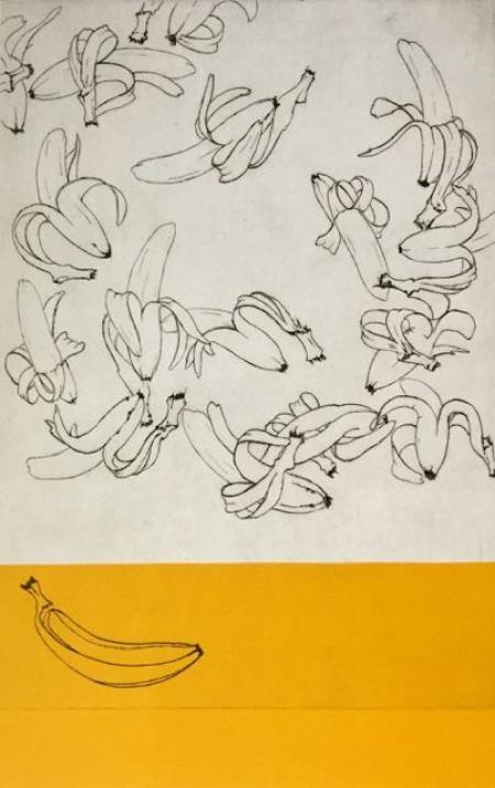 Otto Beckmann, Bananen-Balzflug, 2014, Radierung/Hoch-Tiefdruck e.a., 77x50cm, 660,-€, Galerie Stexwig