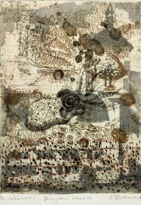 Otto Beckmann, Brief aus Veneta, 2011, Radierung Pr. übermalt, 23x17c,, 280,-€, Galerie Stexwig