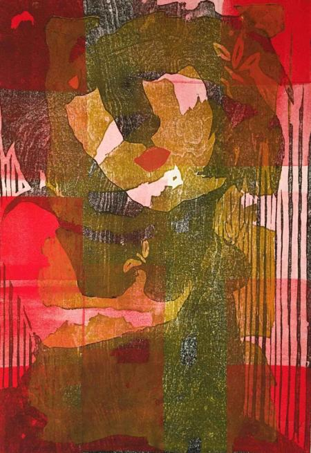 Otto Beckmann, Eva, 2016, Farbholzschnitt, 80x54cm, 520,-€, Galerie Stexwig