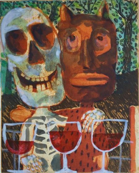 Otto Beckmann, Freunde fürs Leben, 2007, Farbradierung e.a./Tusche, 30x23cm, 360,-€, Galerie Stexwig