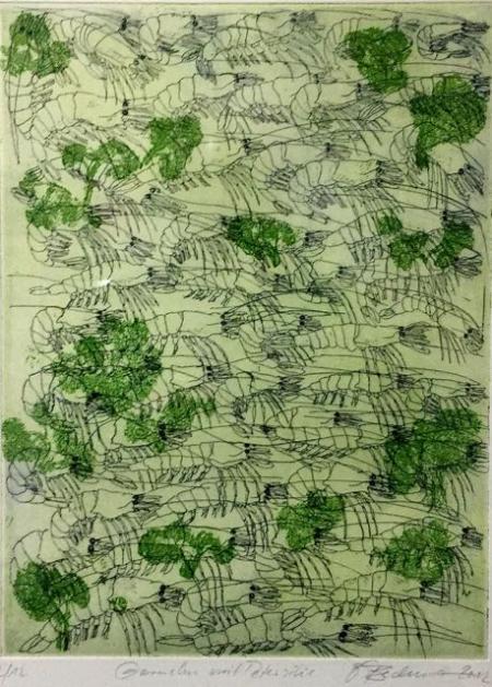 Otto Beckmann, Garnelen mit Petersilie, 2002, Farbradierung, 2/12, 33x25cm, 210,-€, Galerie Stexwig