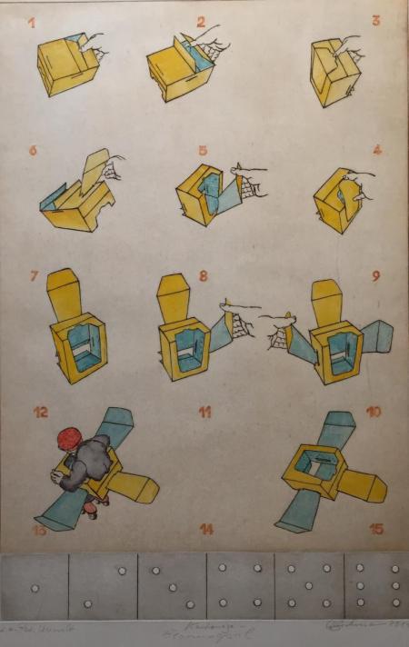 Otto Beckmann, Kartonage-Gewinnspiel, 2014, Farbradierung e.a. übermalt, 74x49,5cm, 720,-€, Galerie Stexwig