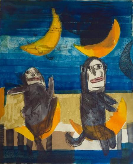 Otto Beckmann, komm, wir machen eine Reise, Radierung übermalt/eingew. Papier/Tusche, 4/4 Pr./ 4. Zustand/10, 38x31cm 460,-€, Galerie Stexwig