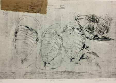 Otto Beckmann, 3 Flundern, 2002, Radierung Pr., 33x49,5cm, 260,-€, Galerie Stexwig