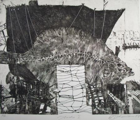 Otto Beckmann, Arche I, 1988, Radierung Pr., 47,5x57,5cm, 500,-€, Galerie Stexwig