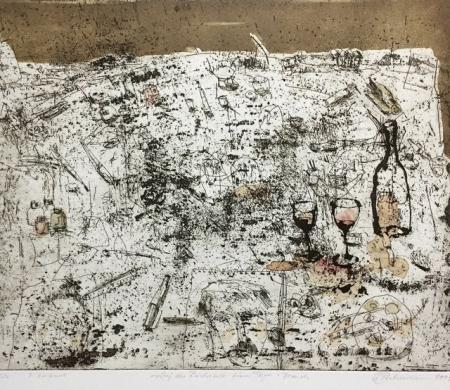 Otto Beckmann, Auf der Rückseite eines Tagesbesuches, 2005, Radierung 2. Zustand 4/12, 40x49cm, 280,-€, Galerie Stexwig