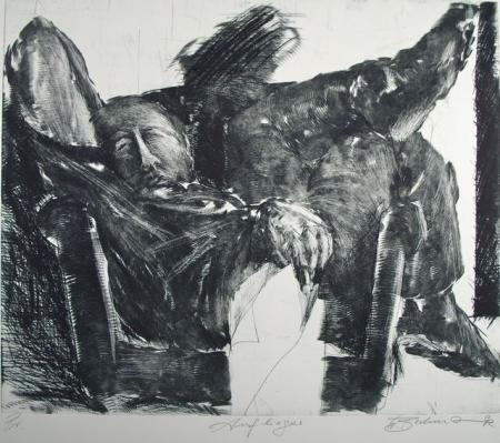 Otto Beckmann, Auflieger, 1992, Radierung Pr., 50x59,5cm, 500,-€, Galerie Stexwig