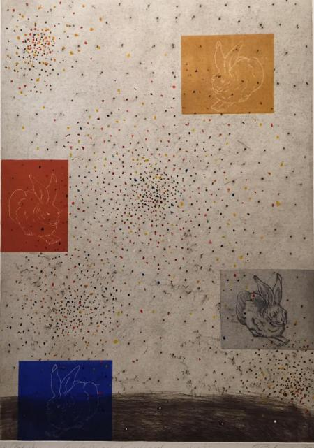 Otto Beckmann, Konfetti oder Kugelhagel für die Hasen, 2014, Radierung e.a. übermalt, 71x50cm, 720,-€, Galerie Stexwig