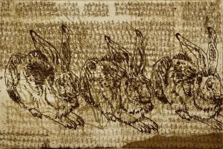 Otto Beckmann, Landschaft mit 3 Hasen, 2013, Radierung e.a., 16,5x24,5cm, 260,-€, Galerie Stexwig