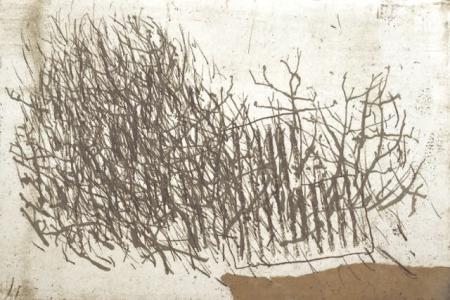 Otto Beckmann, Landschaft ohne Hasen, 2013, Radierung e.a./eingew. Papier, 16,5x24,5cm, 260,-€, Galerie Stexwig