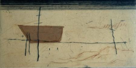Otto Beckmann, schlafendes Boot, 2013, Farbradierung e.a./eingew. Papier, 10x22cm, 180,-€, Galerie Stexwig