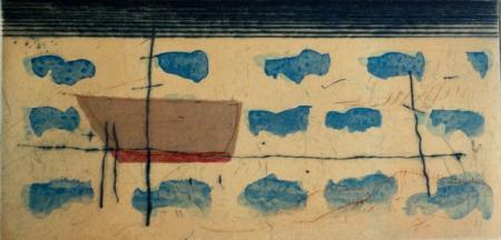 Otto Beckmann, schlafendes Boot, 2015, Farbradierung/eingew. Papier/Tusche, 10x20cm, 220,-€, Galerie Stexwig