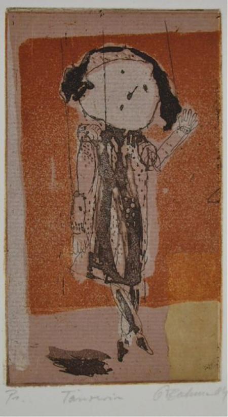 Otto Beckmann, Taenzerin, 2004, Farbradierung Pr., 15,5x9cm, 120,-€, Galerie Stexwig