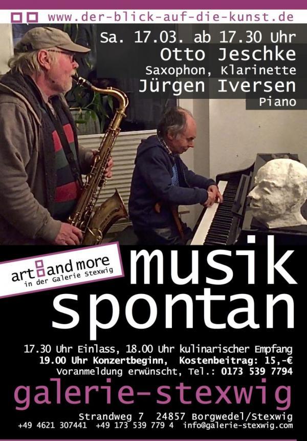 Otto Jeschke und Jürgen Iversen bei Musik spontan in der Galerie Stexwig