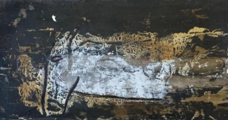 Reinhard Musik, Ausschnitt Pferdekopf mit weißem Fleck, o.J., Mischtechnik auf Karton, 12x21,5cm, 150,-€, Galerie Stexwig