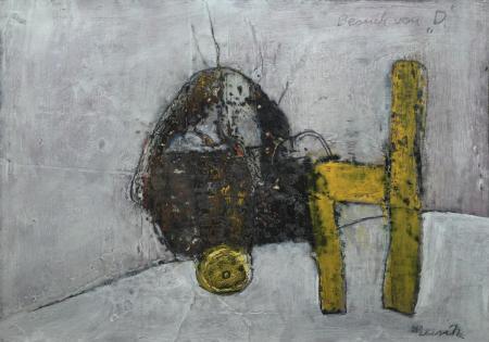 Reinhard Musik, Besuch von D, o.J., Mischtechnik auf Karton, 30x40cm, 350,-€, Galerie Stexwig
