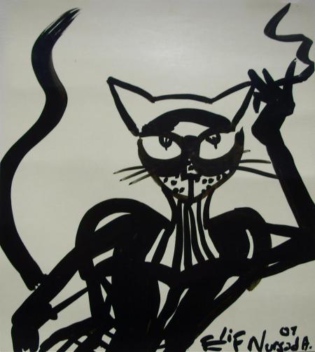 verkauft, Elif Nursad Atalay, Katze femme fatale, Galerie Stexwig